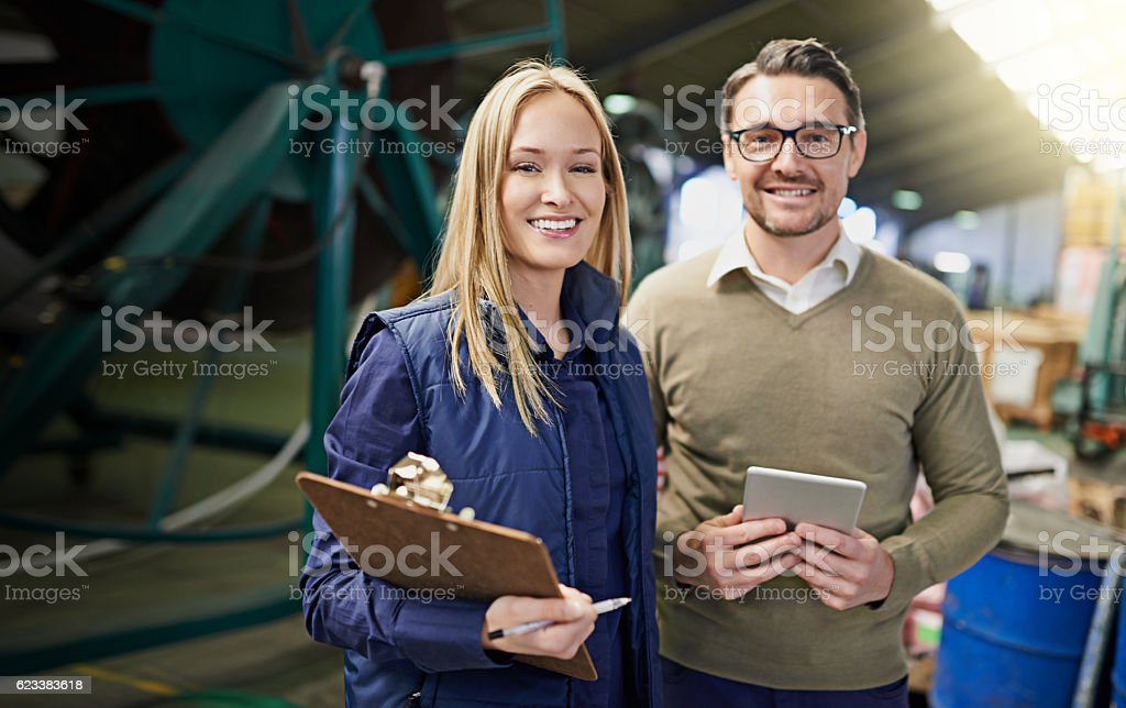 This warehouse is running as smooth as can be stock photo