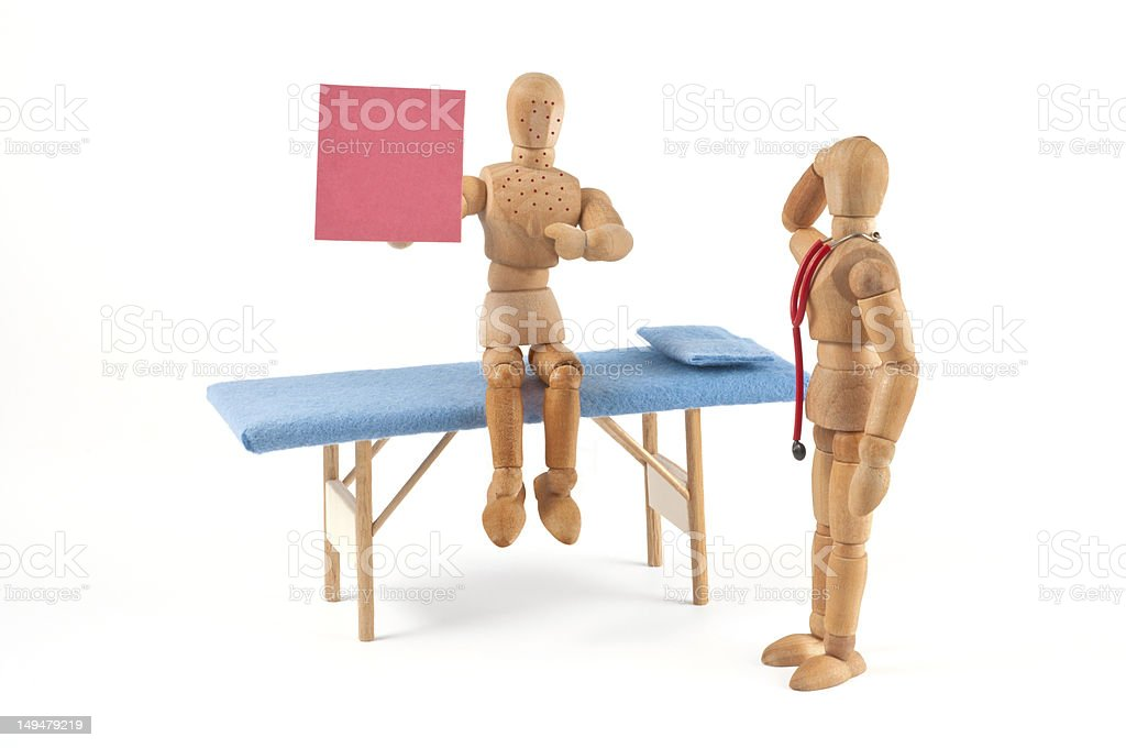 This was it! - wooden mannequin at doctor, copy space royalty-free stock photo