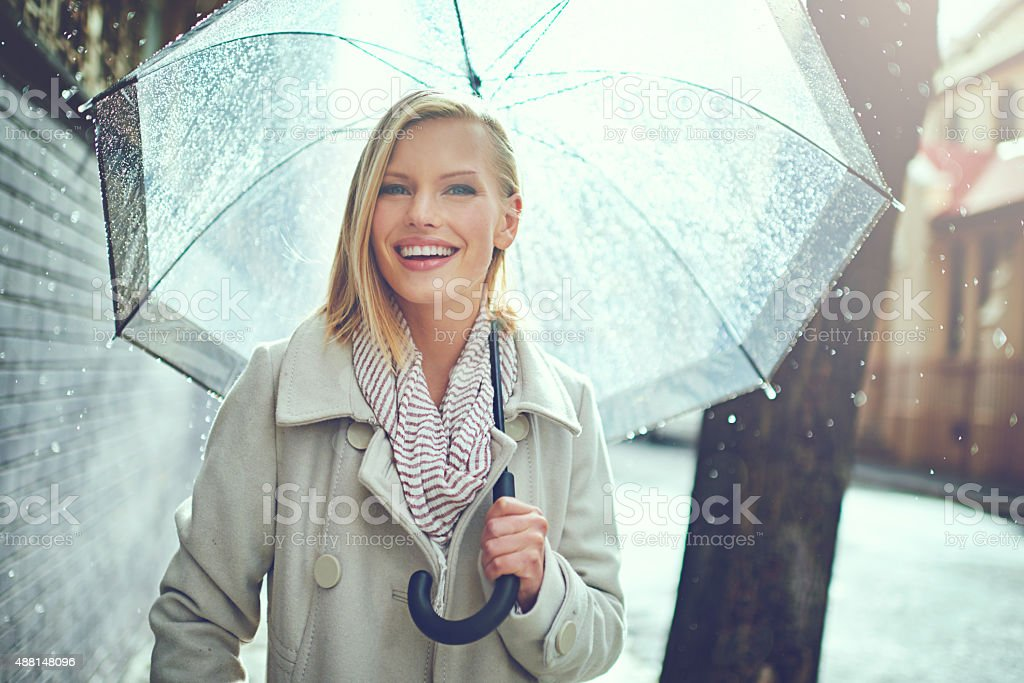 This weather won't get me down stock photo