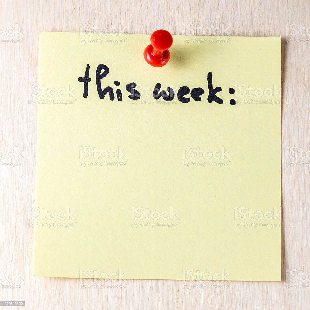 This week note on paper post stock photo
