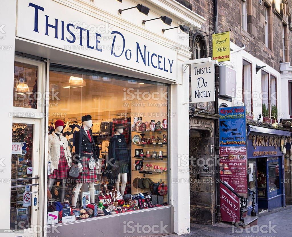 Thistle Do Nicely shopfront stock photo