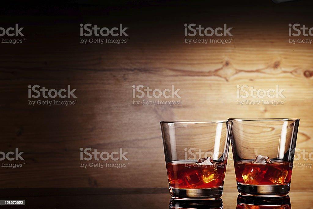 tho glasses of whiskey stock photo