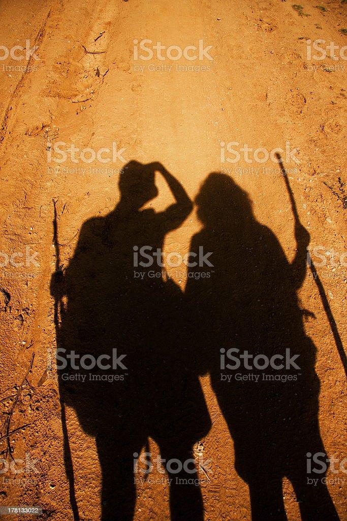 tho shadows of pilgrims royalty-free stock photo