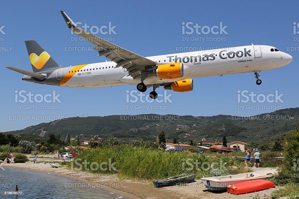 Thomas Cook Airlines Airbus A321 airplane Skiathos airport stock photo