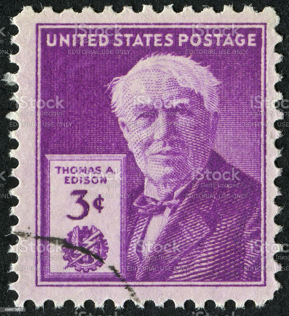 Thomas Edison Stamp stock photo