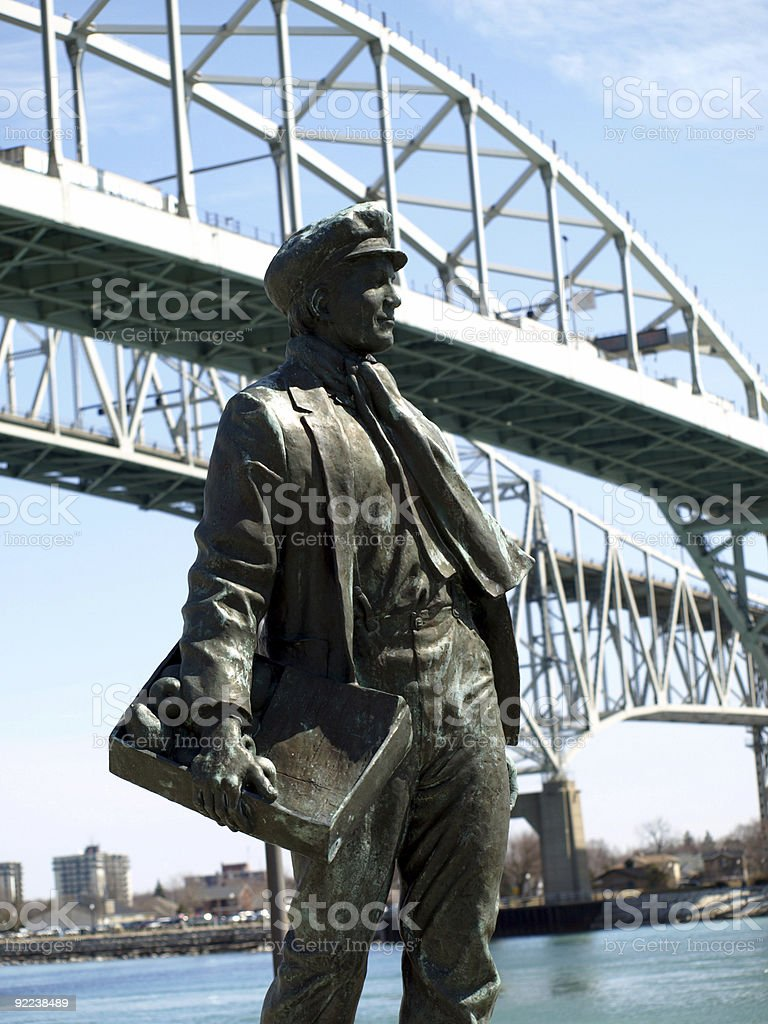 Thomas Edison statue and Blue Water Bridge stock photo