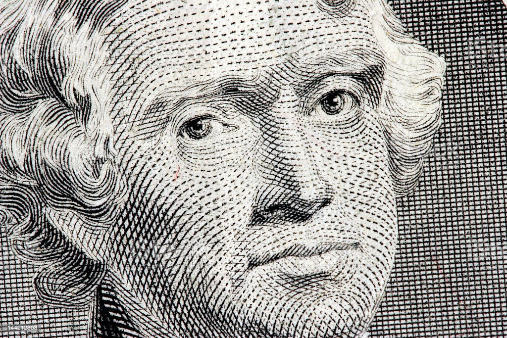 Thomas Jefferson close up from two dollar bill stock photo