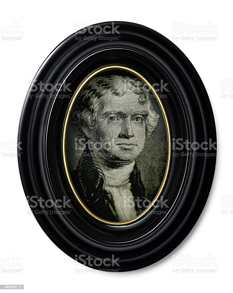 Thomas Jefferson in antique oval frame royalty-free stock photo