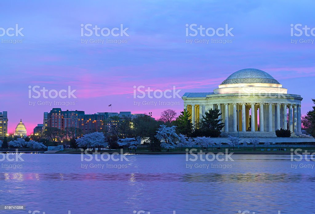 Thomas Jefferson Memorial and US Capitol at dawn in spring. stock photo