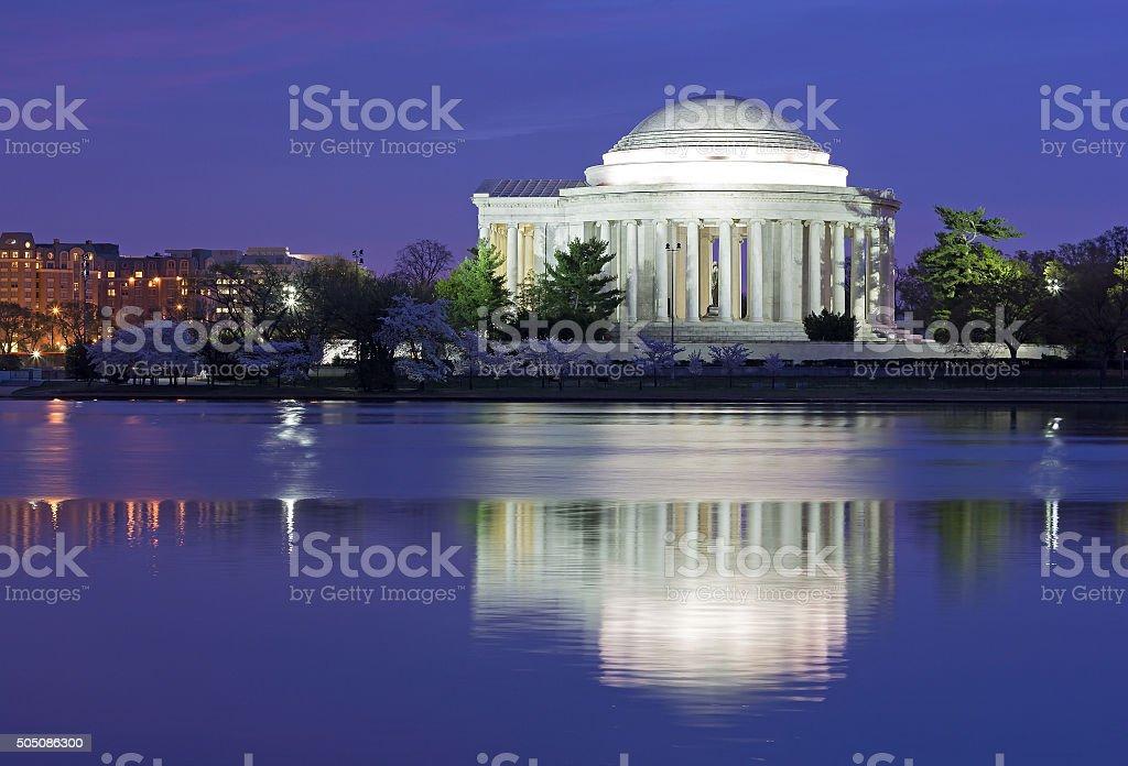 Thomas Jefferson Memorial at dawn in cherry trees blooming season. stock photo