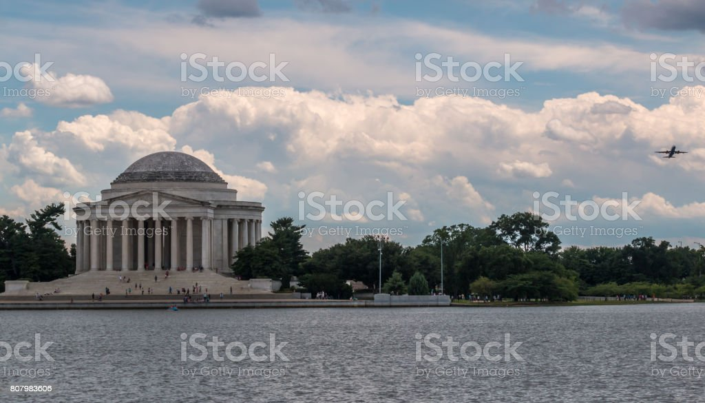 Thomas Jefferson Memorial with Plane on the Right stock photo