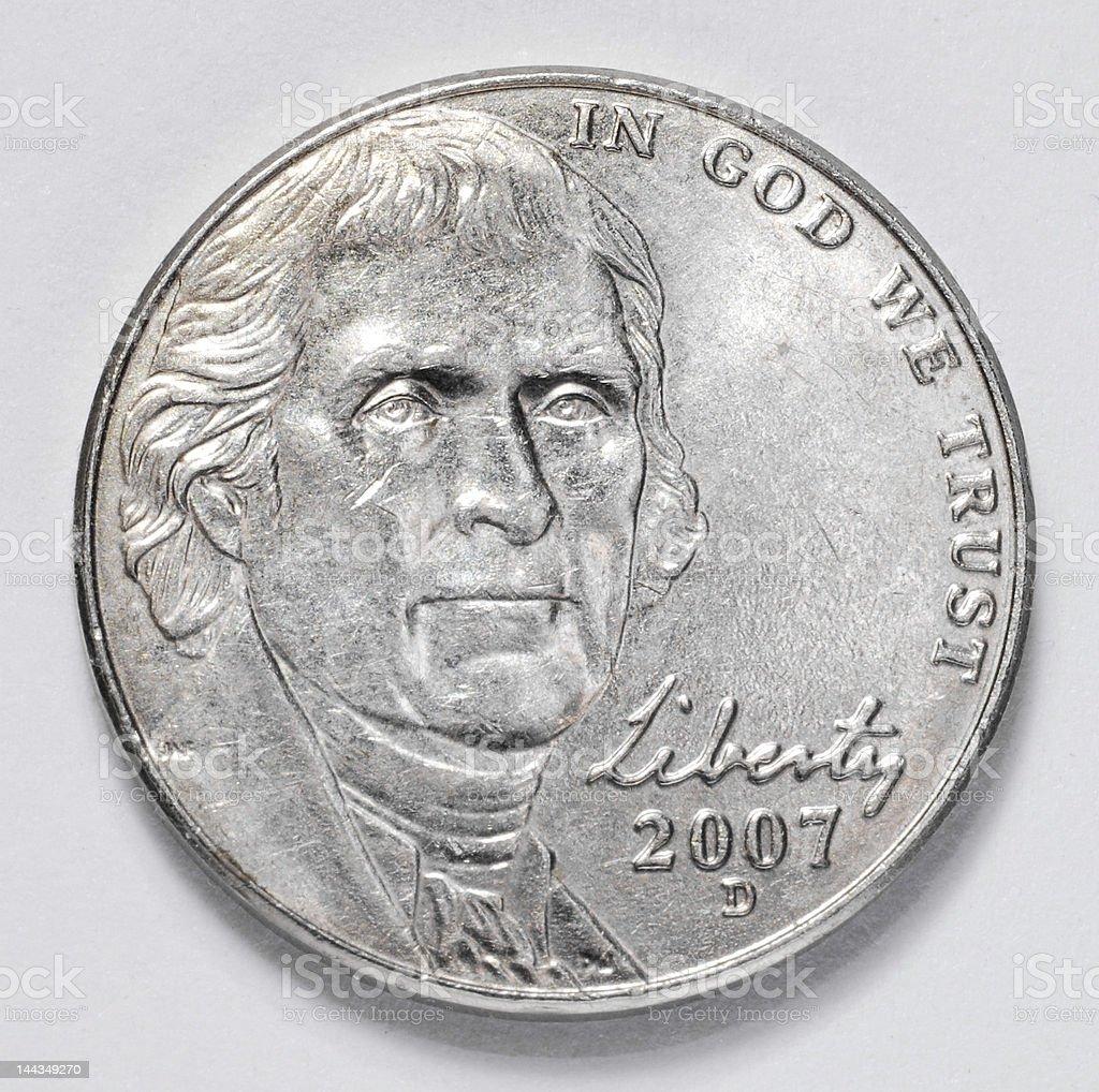 Thomas Jefferson Nickel stock photo