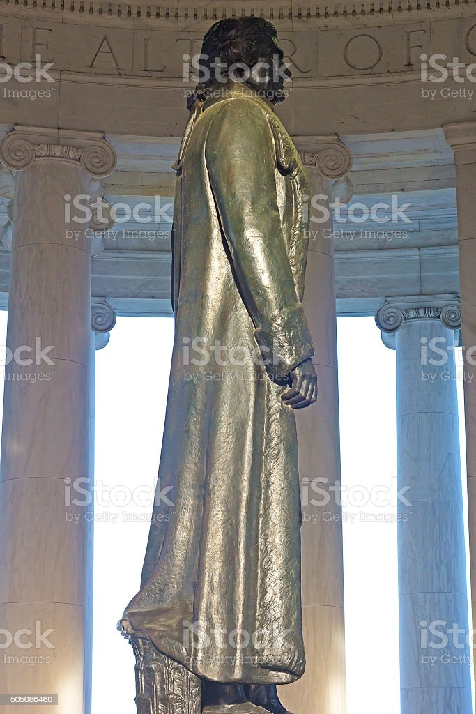 Thomas Jefferson statue inside his memorial in Washington DC, USA. stock photo