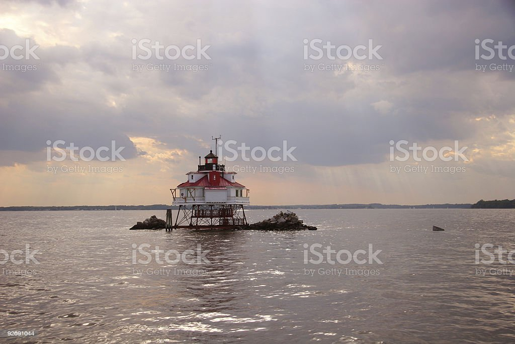 Thomas Point lighthouse under a stormy sky royalty-free stock photo