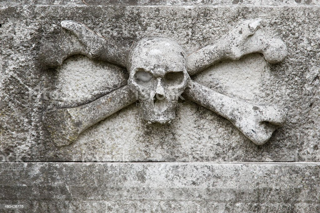 Thombstone with a skull stock photo