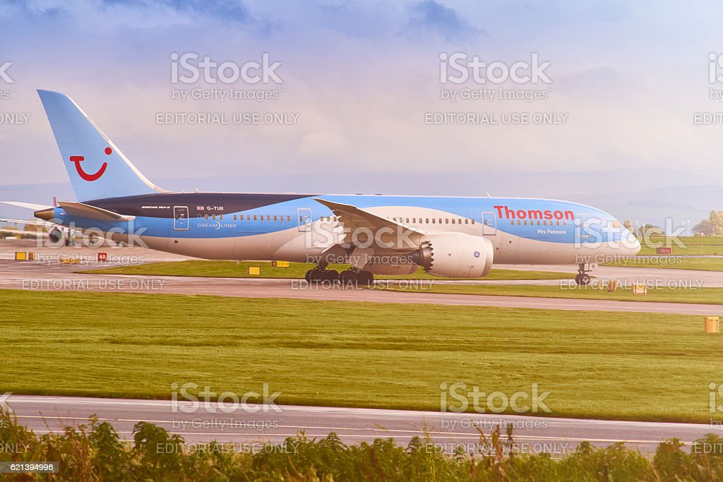 Thompson holidays airplane Taxiing to the runway stock photo