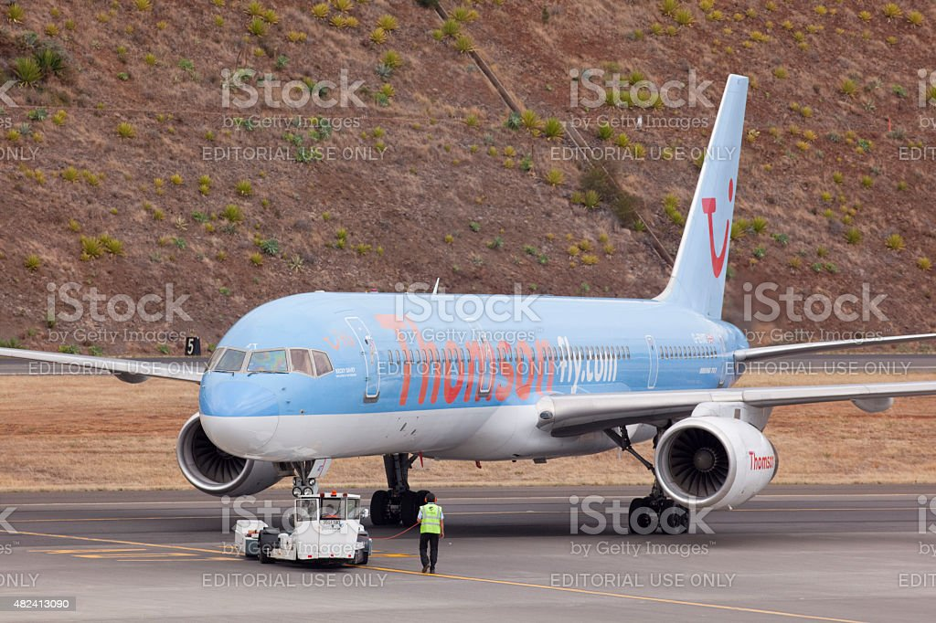 Thomson Boeing 757 rolls back in Madeira Funchal airport stock photo