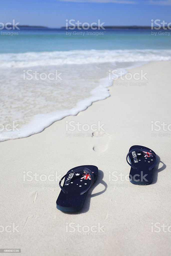 Thongs with Australian Flag on a beach stock photo