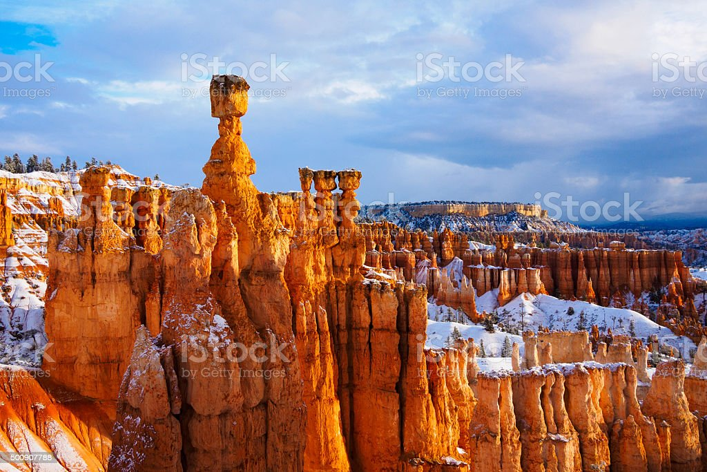 thor hammer over snow, Bryce Canyon National Park, UT USA stock photo