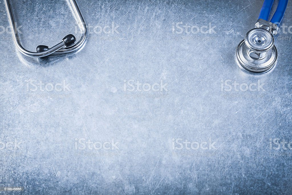 Thoracoscope on metallic background directly above medicine conc stock photo