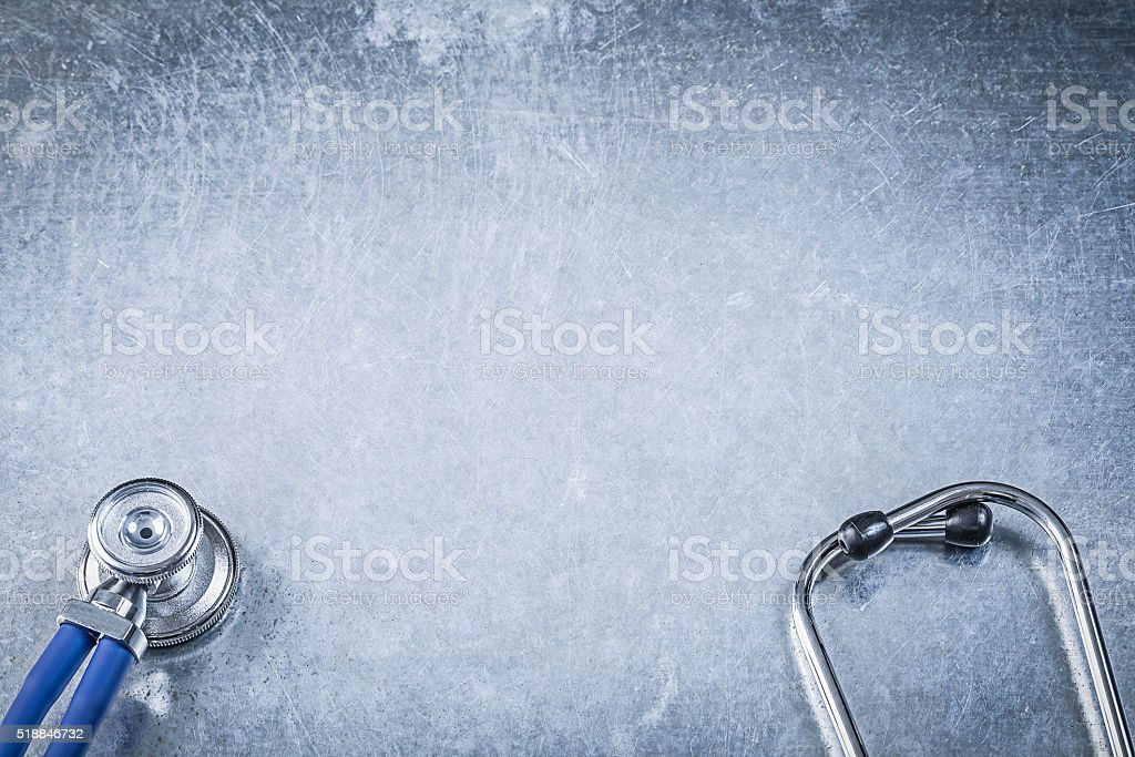 Thoracoscope on scratched metallic background copy space medicin stock photo