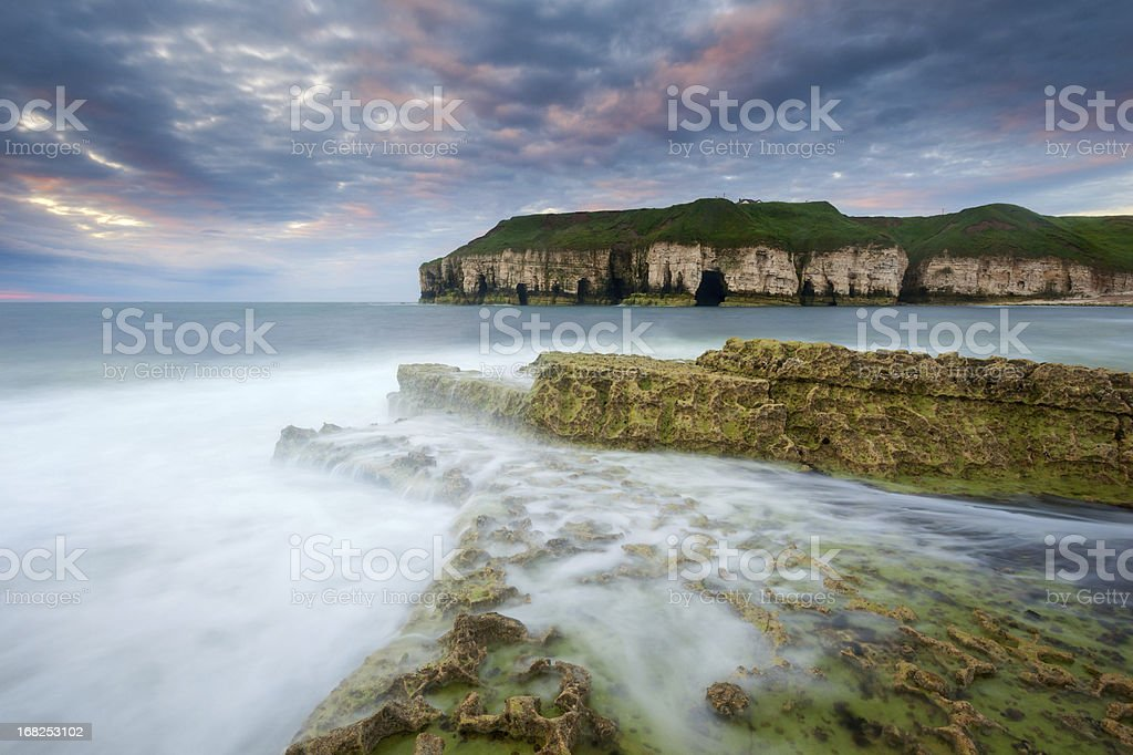 Thornwick Bay Sunrise, Flamborough Head, Yorkshire stock photo