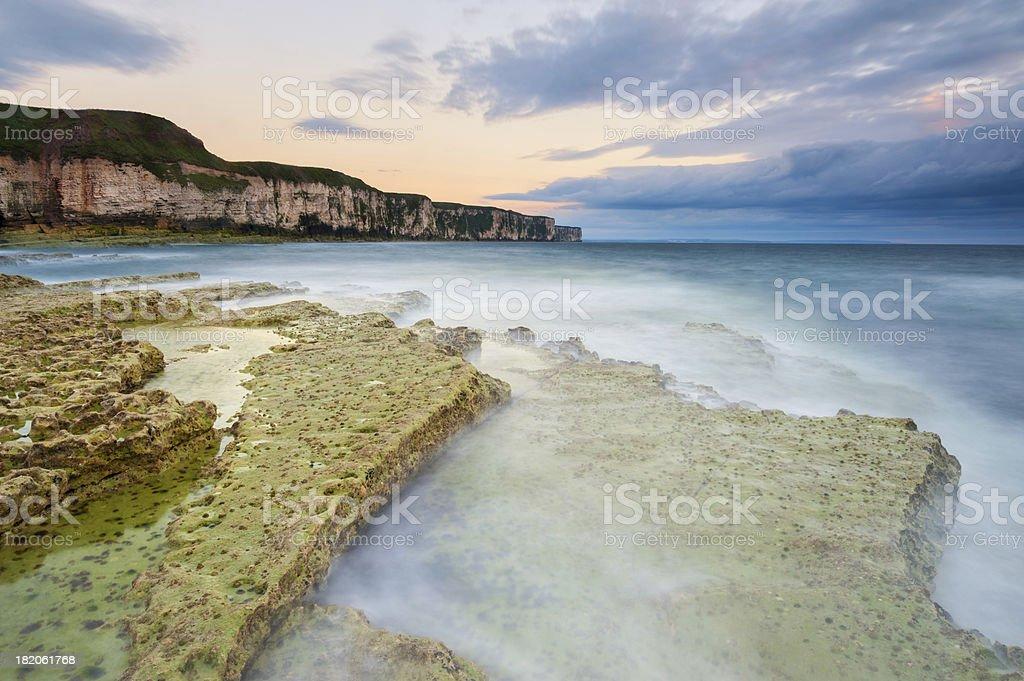 Thornwick Bay Sunrise, Flamborough Head, Yorkshire stock photo
