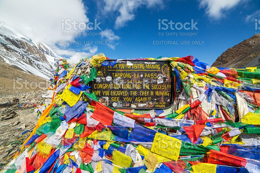 Thorong La pass 5416m, highest point of Annapurna circuit trek. stock photo