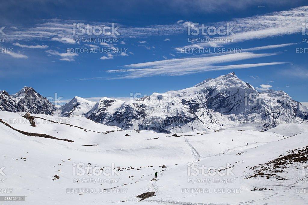 Thorong-La Pass trail, Nepal stock photo