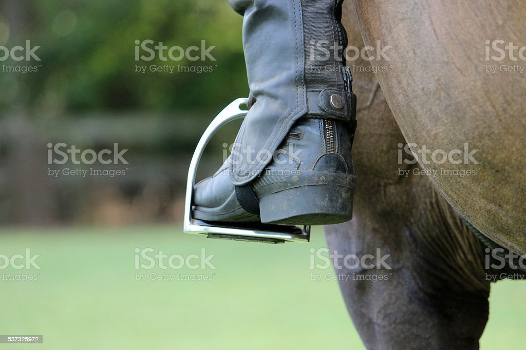 Thoroughbred horse & rider stirrups stock photo