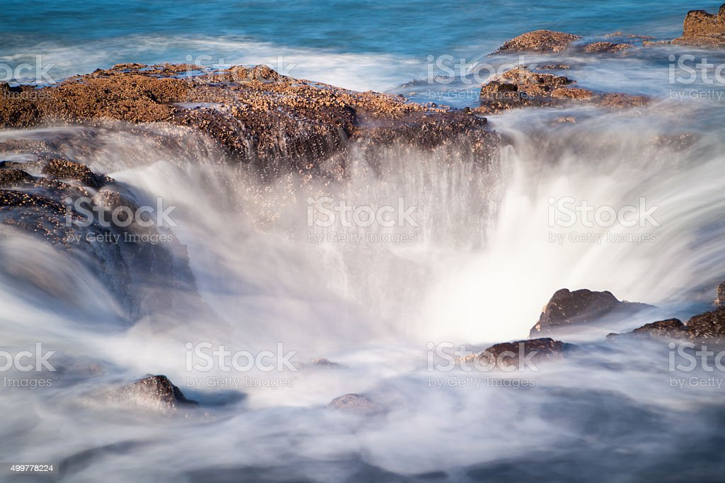 Thors Well on the ocean along Oregon's Coast. stock photo