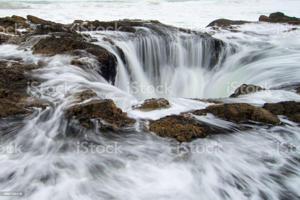 Thor's Well, Oregon, USA. stock photo