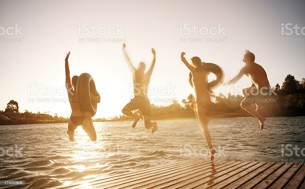 Those who don't jump will never fly stock photo