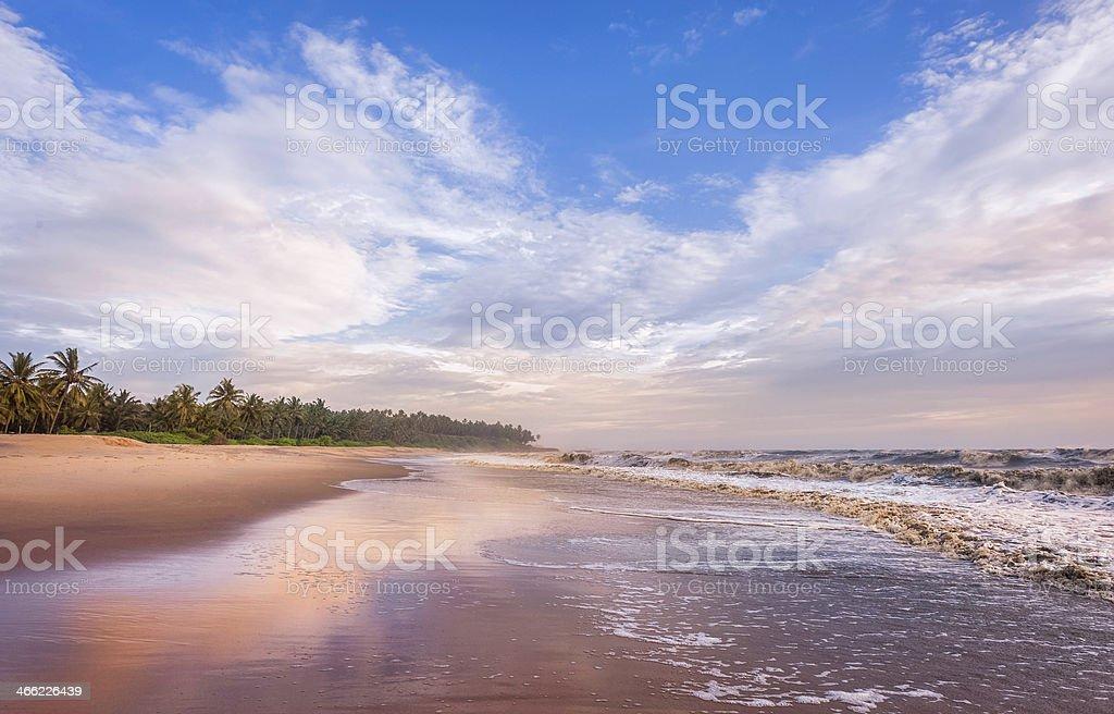 Thottada beach at sunset, Kannur, Kerala, India. stock photo