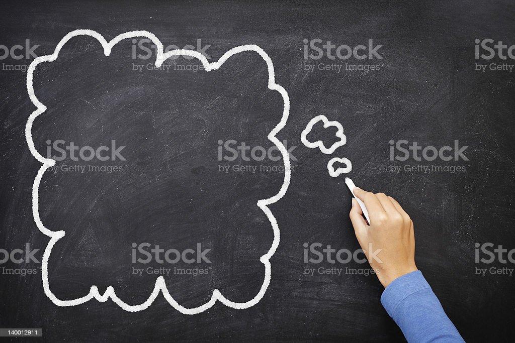 Thought bubble blackboard / chalkboard royalty-free stock photo