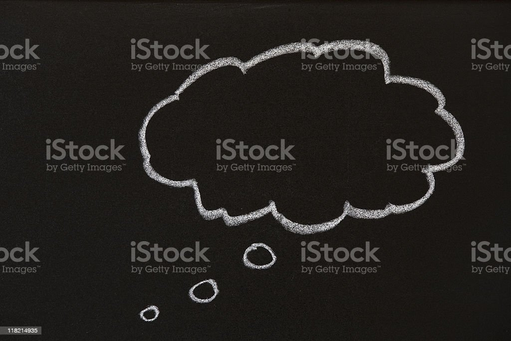 Thought bubble on a blackboard royalty-free stock photo