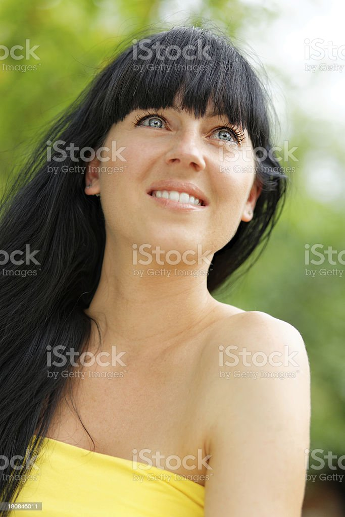Thoughtful and smiling (XXXL size) royalty-free stock photo