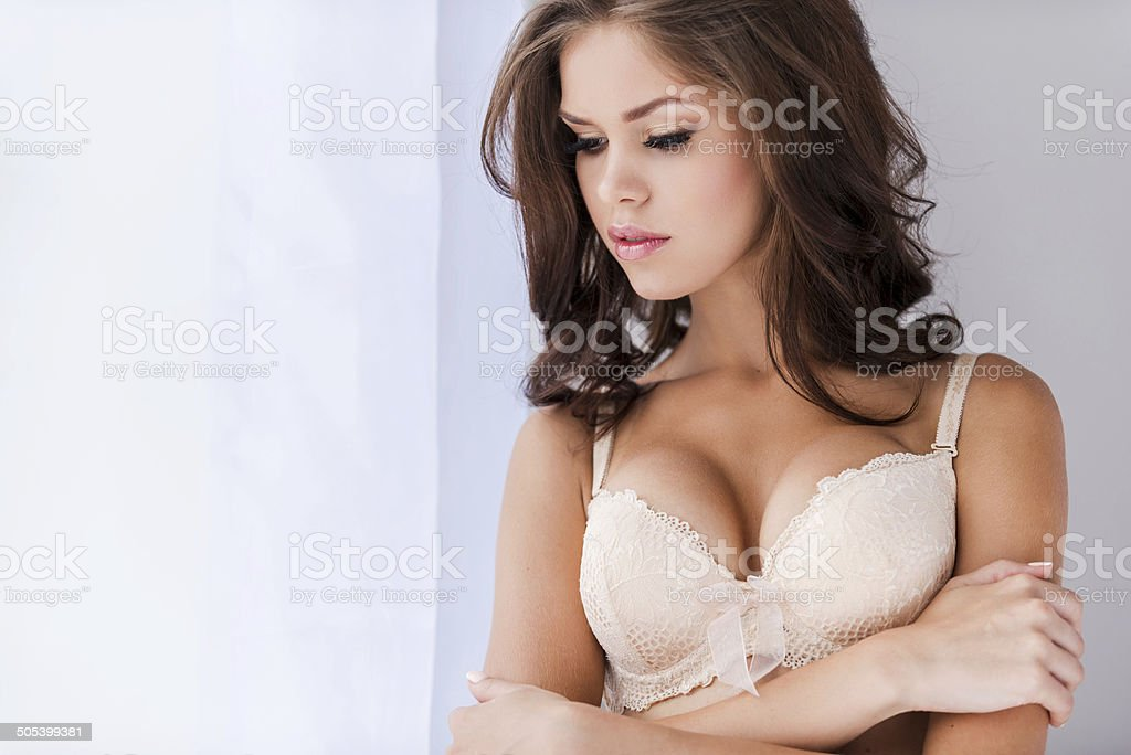 Thoughtful beauty. stock photo