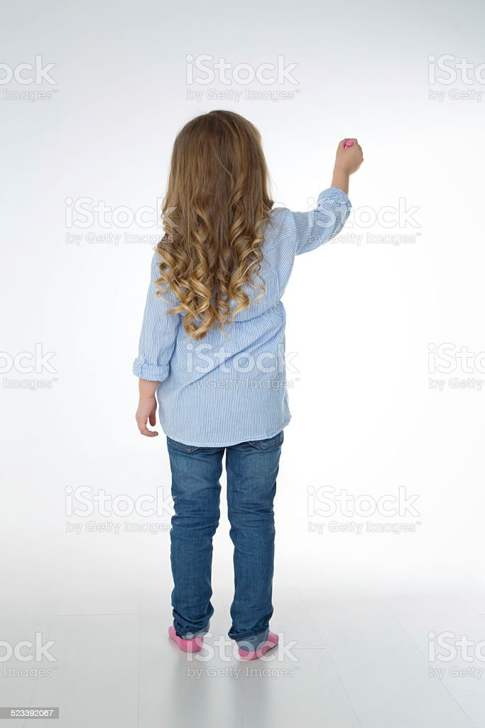 thoughtful blond young girl stock photo