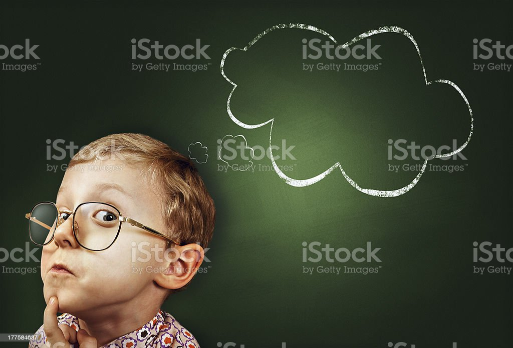 Thoughtful boy funny portait royalty-free stock photo