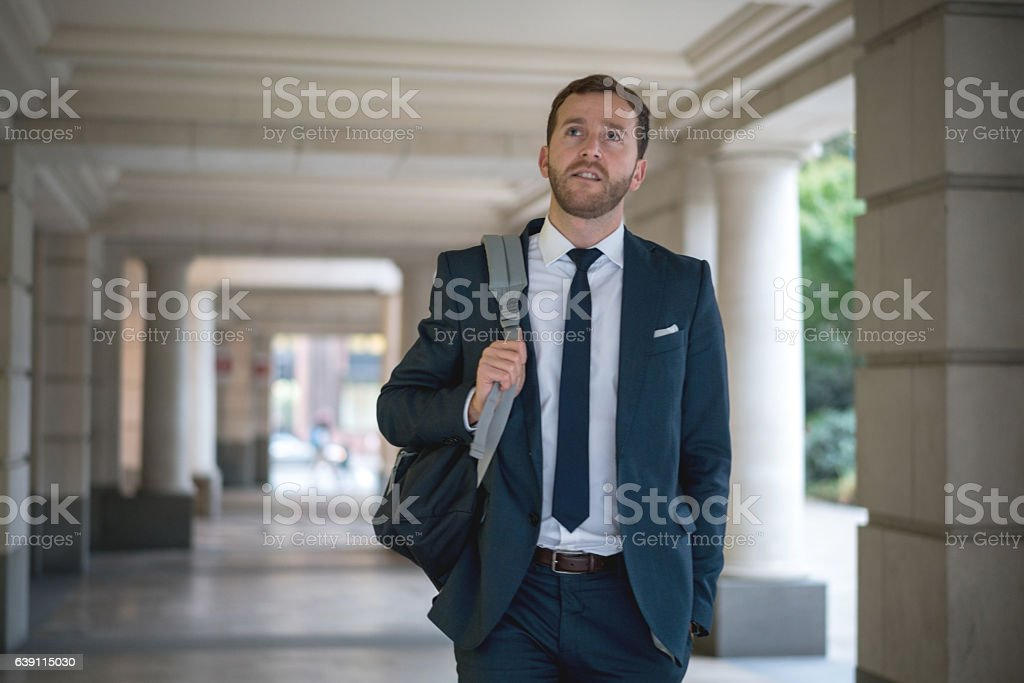 Thoughtful business man stock photo