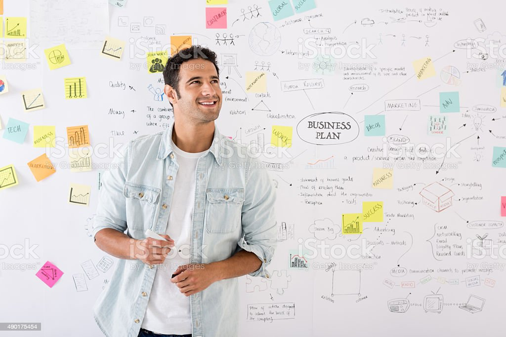 Thoughtful business man planning at the office stock photo
