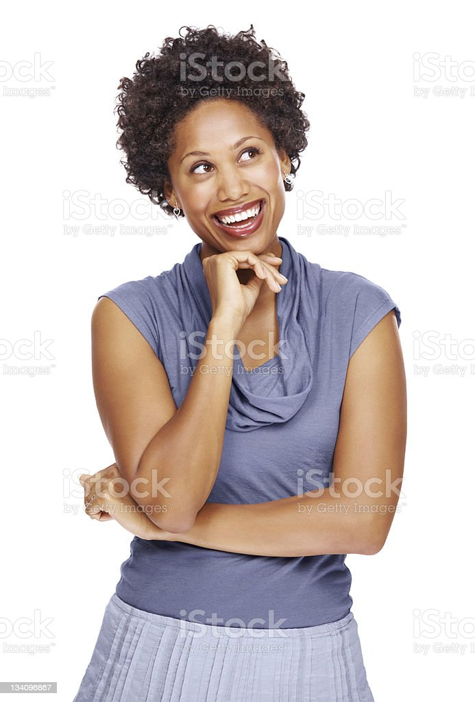 Thoughtful business woman looking at copyspace royalty-free stock photo