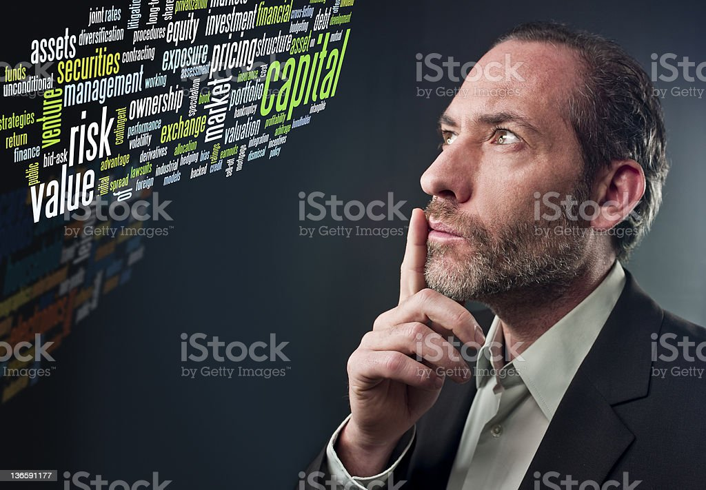 Thoughtful Businessman - business tag cloud royalty-free stock photo