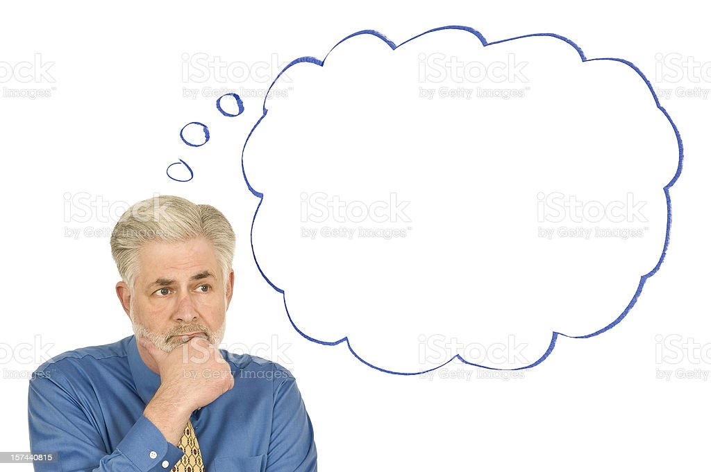 Thoughtful Businessman With Blank Thought Bubble royalty-free stock photo