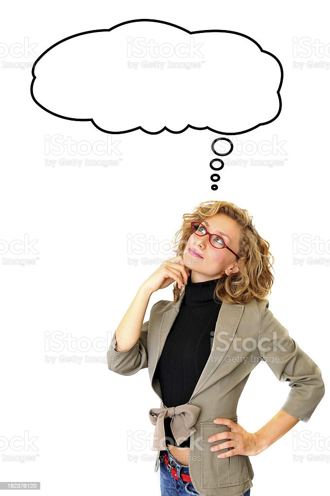 Thoughtful Businesswoman With Blank Thought Bubble royalty-free stock photo