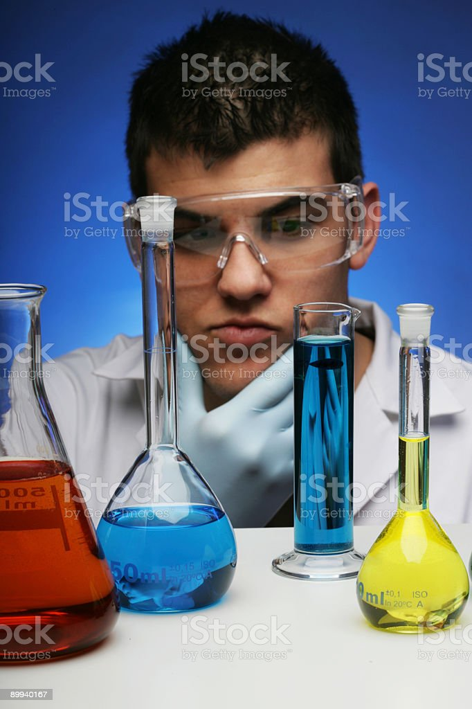Thoughtful chemist royalty-free stock photo
