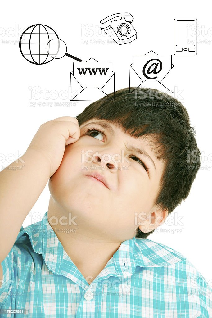 Thoughtful child with icons royalty-free stock photo
