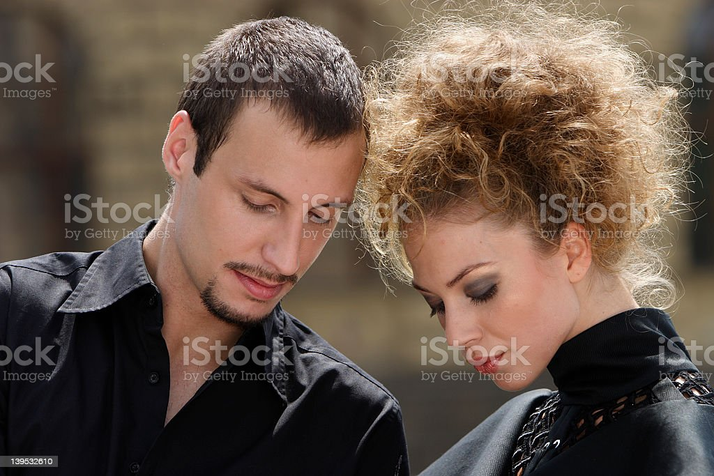 Thoughtful couple royalty-free stock photo