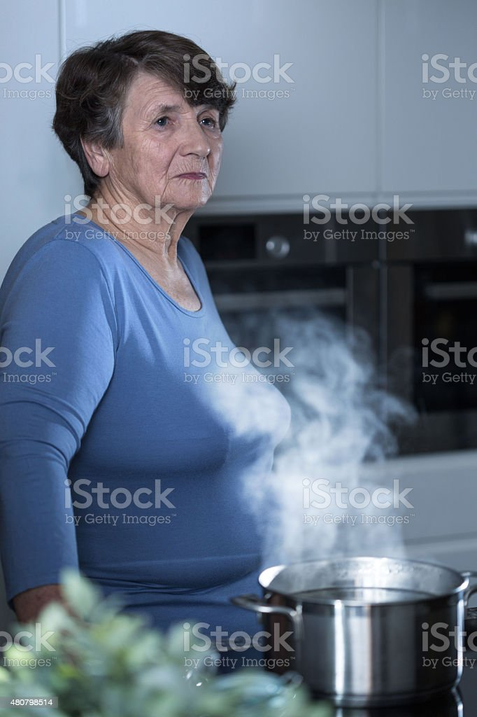 Thoughtful elderly women stock photo